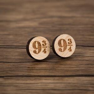 UO Harry Potter 9 3/4 Vintage Wood Stud Earrings